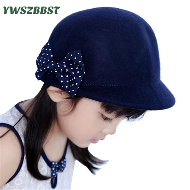 f18d6639 Spring Autumn Baby Girl Hat Fashion Navy Dots Girls Cap with Bowknot Kids  Wool Felt Cap Children Knight Cap Beanies