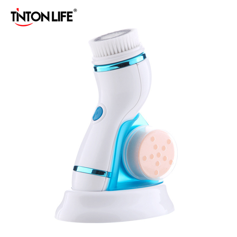 TINTON LIFE  4 In 1 Ultrasonic Electric Facial Cleansing Brush Massager Pore Face Cleaning Device Skin Care Brush For Face