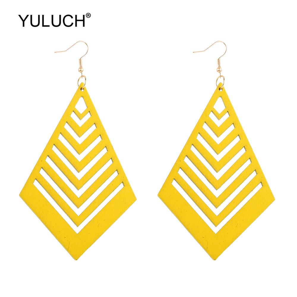 YULUCH 2019 Hollow Wooden Fashion Drop Earrings For Women Party Ethnic African Long Jewelry Indian Bohemian Big Pendant Earrings
