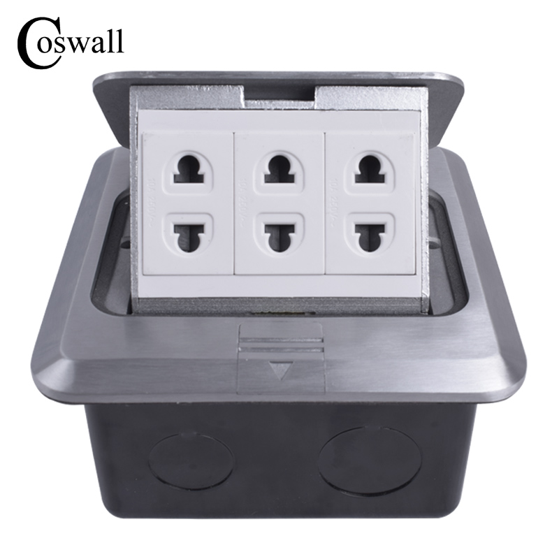 Coswall All Aluminum Silver Panel Universal 2 Hole + 2 Hole + 2  Hole Pop Up Floor Socket Power Outlet