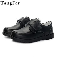 Boys Genuine Leather School Shoes Fashion Children Show Black Mid heel Shoe Wedding Party Loafers For Toddler