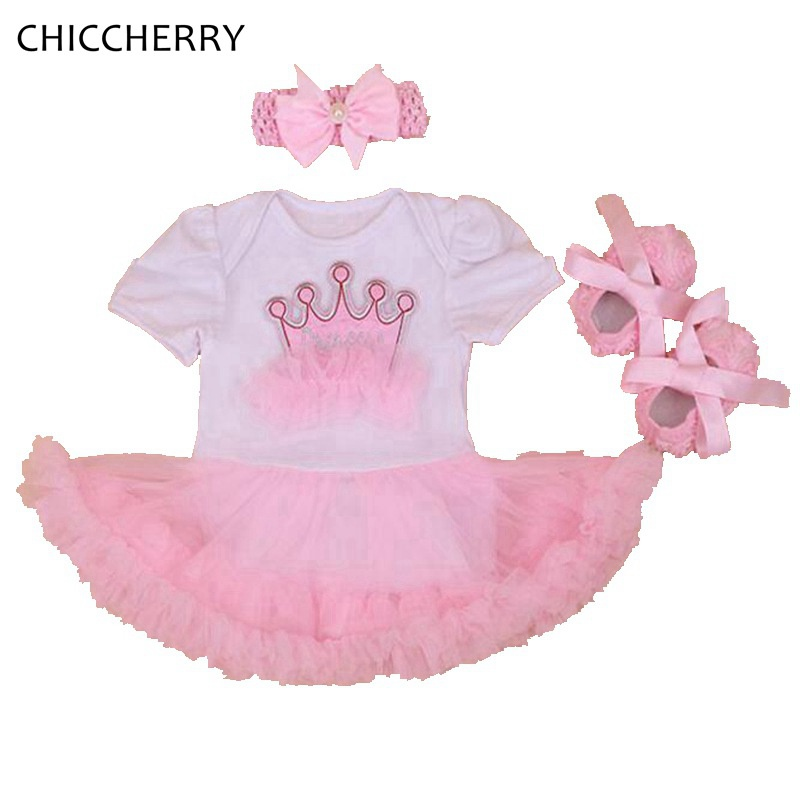 Princess Crown First Birthday Party Dresses Infantil Jumpsuit Crib Shoes Headband New Born Girls Clothes 2018 Infant Clothing