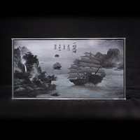 Feng Shui Photo Album Crystal 3D Laser Engraved Landscape Painting Picture Frames Glass Chinese Style Gifts For home decoration
