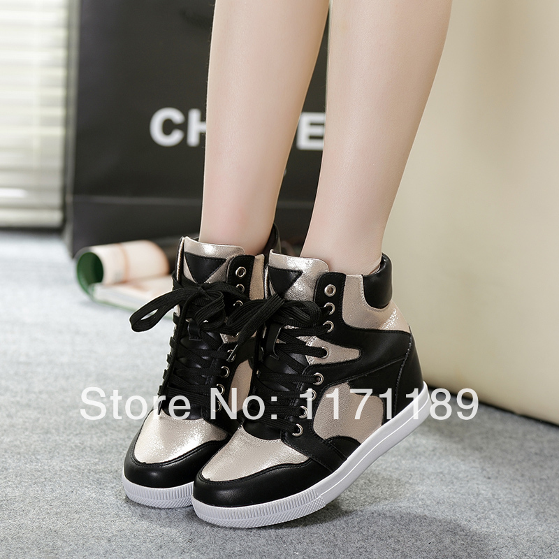 2014 New Women s Hidden Wedge Sneakers High Heels Lace Up High Top Ankle Boots  Tennis School Shoes us size5 6 7 8 9 black silver e5cfda924bfc