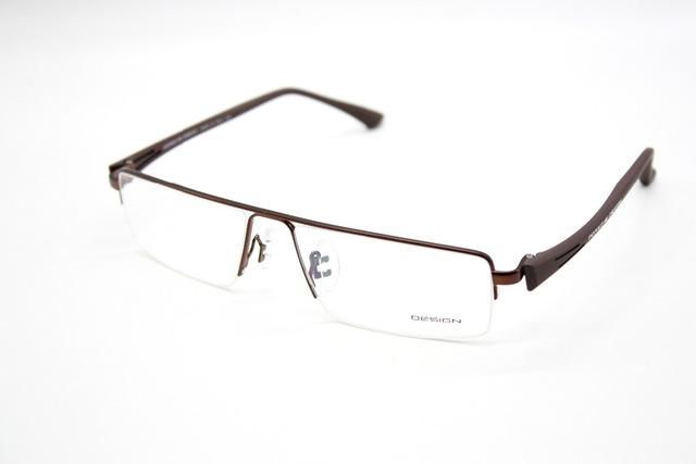 Homens titanium frente tr90 pernas mordern design brown óculos de armação custom made óculos-1-2-2.5 a-9 com pedido cilindro