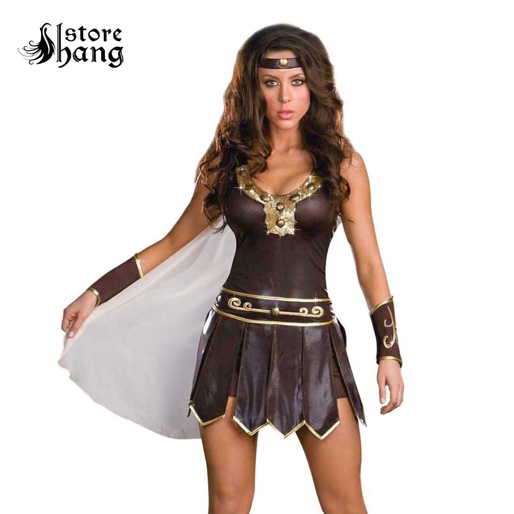 Women's Roman Gladiator Costume Adult Xena Warrior Princess Dress Up Ladies Ancient Greek Goddess Costumes Halloween Fancy Dress