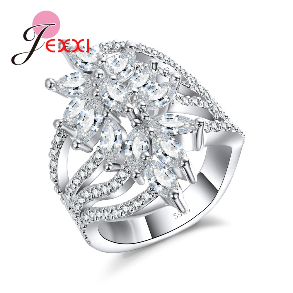 JEXXI Women Party Finger Ring With CZ Zircon 925 Sterling Silver AAA Crystal Engagement Wedding Wide Rings Fashion Anel Bague