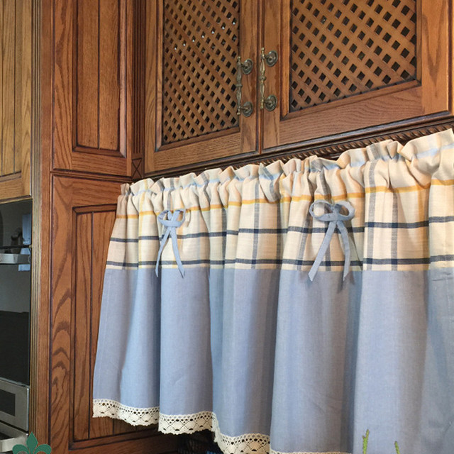 Superbe XYZLS New Luxury Noble Plaid Cotton Linen Kitchen Curtains Shade Cafe  Curtain Short Door Curtain Window