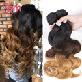 7A Brazillian Ombre Body Wave Hair 3 bundle 300g lot Brazilian Virgin Hair Deep Wave 1B/4/27 Three Tone Gem Beauty Hair Products
