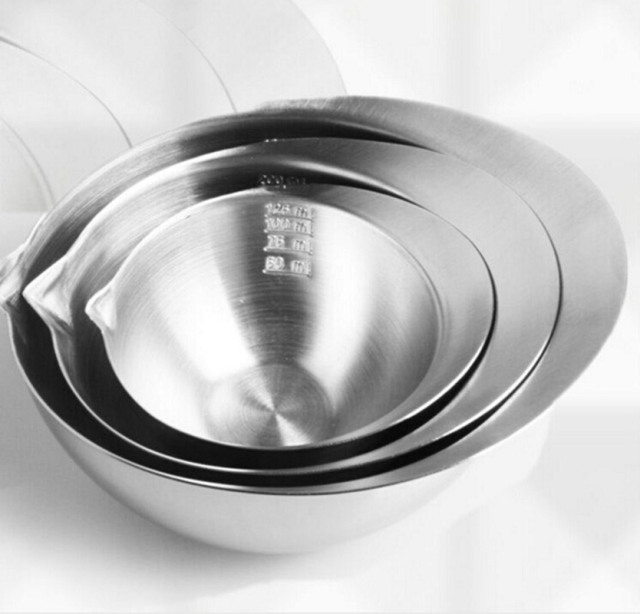 3pcs/pack Kitchen cooking ware salad bowl with graduate stainless steel bowl with sprout ingredients mixed bowls dinnerware set