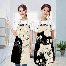 Кухонный Фартук с милым рисунком кота из мультфильма, водонепроницаемый фартук из хлопка и льна, легко чистится, инструменты для дома, 12 стилей на выбор