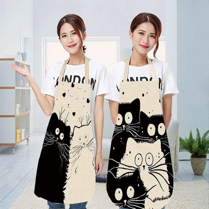 Delantal de cocina con estampado de gato de dibujos animados bonito delantal impermeable de lino de algodón fácil de limpiar herramientas para el hogar 12 estilos para elegir