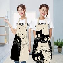 Nette Cartoon Katze Druck Küche Schürze Wasserdichte Schürze Baumwolle Leinen Wasy zu Reinigen Hause Tools 12 Arten zu Wählen Aus