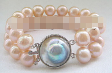 "free shipping 13402 2row 8"" natural pink round freshwater pearl bracelet-925 silver Mabe clasp"
