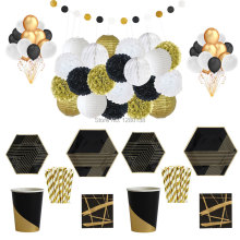 Фотография Black Gold Tableware&Decoration Set Paper Honeycomb Lanterns Paper Pompoms Latex Balloons Party Paper Plates Cups Napkins Straws