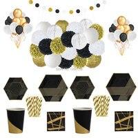 Nero Oro Stoviglie e Set Decoration Lanterne di Carta A Nido D'ape di Carta Pompon Lattice Palloncini Partito Piatti Tazze Tovaglioli Cannucce