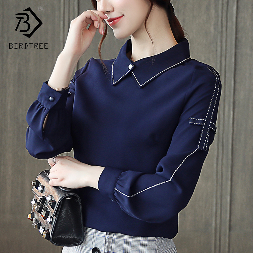 Good Quality Woman Autumn Plus Size 2XL Preppy Style Women Full Sleeves Peter Pan Collar Loose Elegance Chiffon Shirt T88420L