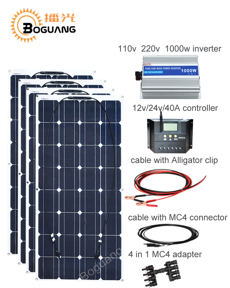 Boguang 400w solar DIY kit system 100w solar panel cell 110v 220v 1000w inverter 40A controller cable MC4 connector 12v battery 100w folding solar panel solar battery charger for car boat caravan golf cart
