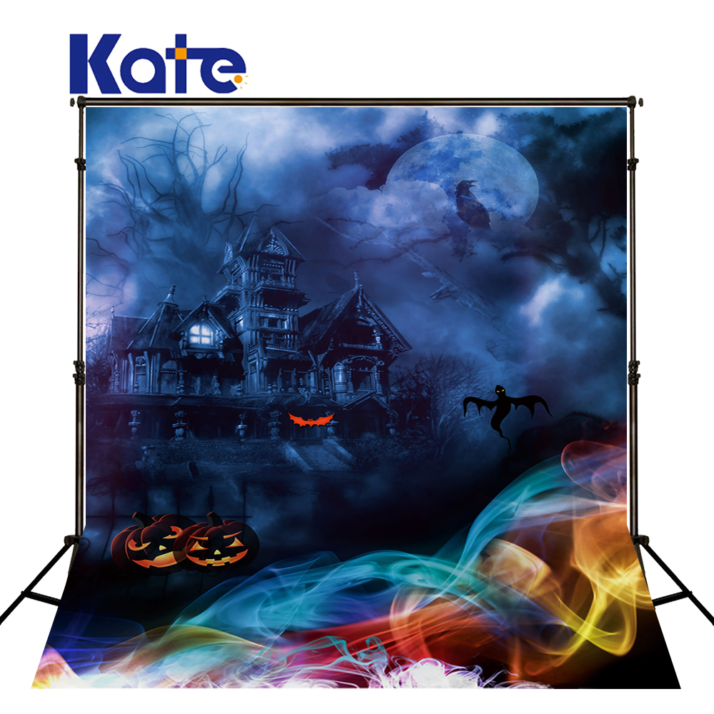 Kate Horror Halloween Photobooth Background Castle Pumpkin Black Clouds Party Photo Background Children Costplay Background