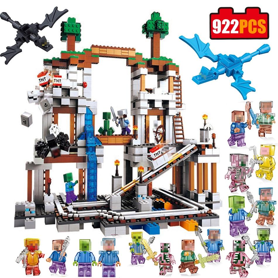 922pcs Minecrafted Mine Mountain Compatible Legos Minecrafts City Building Blocks Toy My World Figures Bricks Toys for Childrens lepin minecraft 922 stucke der mine my world figur kinder educational building blocks bricks spielzeug fur kinder geschenk