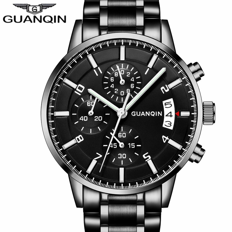 Relogio Masculino GUANQIN Mens Watches Chronograph Luminous Hands Clock Top Brand Luxury Men Business Full Steel Quartz Watch relogio masculino guanqin mens watches top brand luxury chronograph luminous quartz clock men sport stainless steel wrist watch