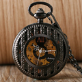 Black Steampunk Mechanical Hand Wind Pocket Watch With Chain Antique Gift For Men Women Relogio De Bolso