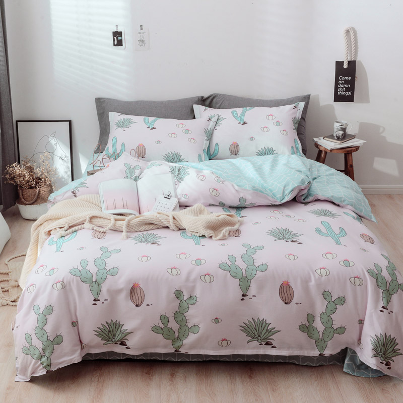 New 2019 Cotton Comfort 3/4 Pieces Bedding Sets Spring Fresh Jungle Printed Duvet Cover+Bed Sheet+PillowcasesNew 2019 Cotton Comfort 3/4 Pieces Bedding Sets Spring Fresh Jungle Printed Duvet Cover+Bed Sheet+Pillowcases