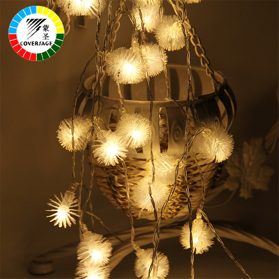Coversage 2M 20 Leds Fairy Battery Flower String Lights Darland Decoration Christmas Tree Indoor Curtain Holiday Luces Navidad