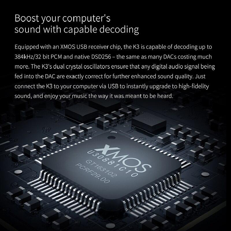 FiiO K3 Portable Headphone Amplifier DSD USB DAC for PC,Support COAXIAL/OPTICAL/2.5 BALANCE
