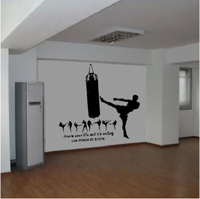 Sanda martial arts sports personality character wall stickers wallpaper martial arts fighting side kick sandbag bedside Stickers-in Wall Stickers from Home ... & Sanda martial arts sports personality character wall stickers ...