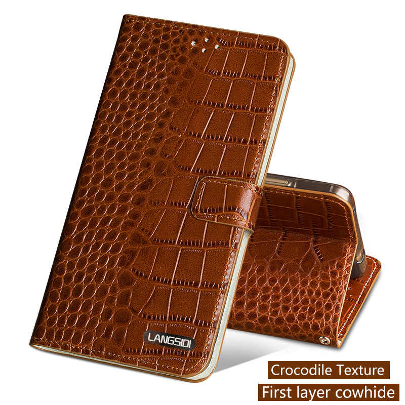 Genuine Leather Flip Phone Case For Xiaomi Mi 5 6 A1 A2 Max 2 3 Mix2s case Crocodile Texture Cover For Redmi Note 4 4X 4A 5 Plus