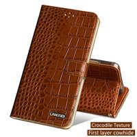 Echtes Leder Flip Telefon Fall Für Xiao mi mi 5 6 A1 A2 Max 2 3 mi x2s fall Krokodil textur Abdeckung Für Red mi Hinweis 4 4X 4A 5 Plus