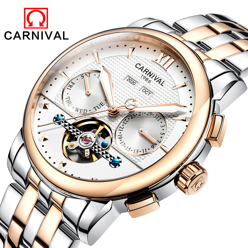 Fashion tourbillon watch men gold Stainless steel Automatic mechanical Sapphire waterproof white watch relogio masculino 2017 new sale mechanical man watch relogio masculino gold white watchband automatic date week movt waterproof mans wristwatches