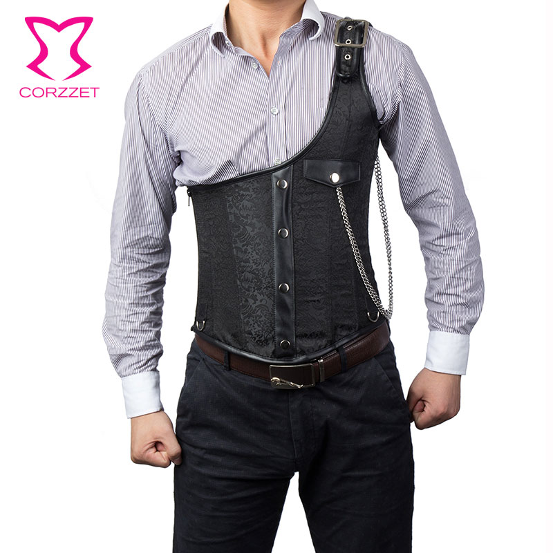 Corzzet Black Brocade One Shoulder Steel Boned Steampunk Jacket Underbust Mens Corset Vest Waist slimming Men