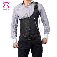 Corzzet  Black Brocade One -Shoulder Steel Boned Steampunk Jacket Underbust Mens Corset Vest Waist slimming Men Clothing