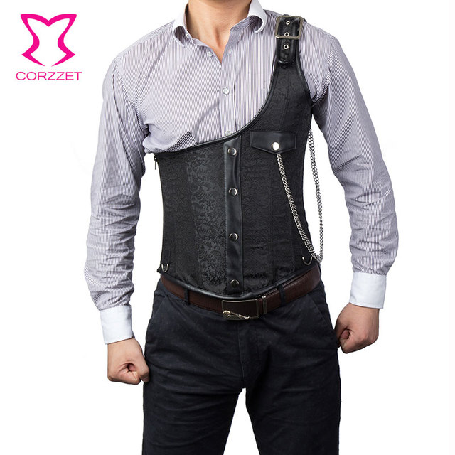 Corzzet  Black Brocade One -Shoulder Steel Boned Steampunk Jacket Underbust Mens Corset Vest Waist slimming Men Clothing