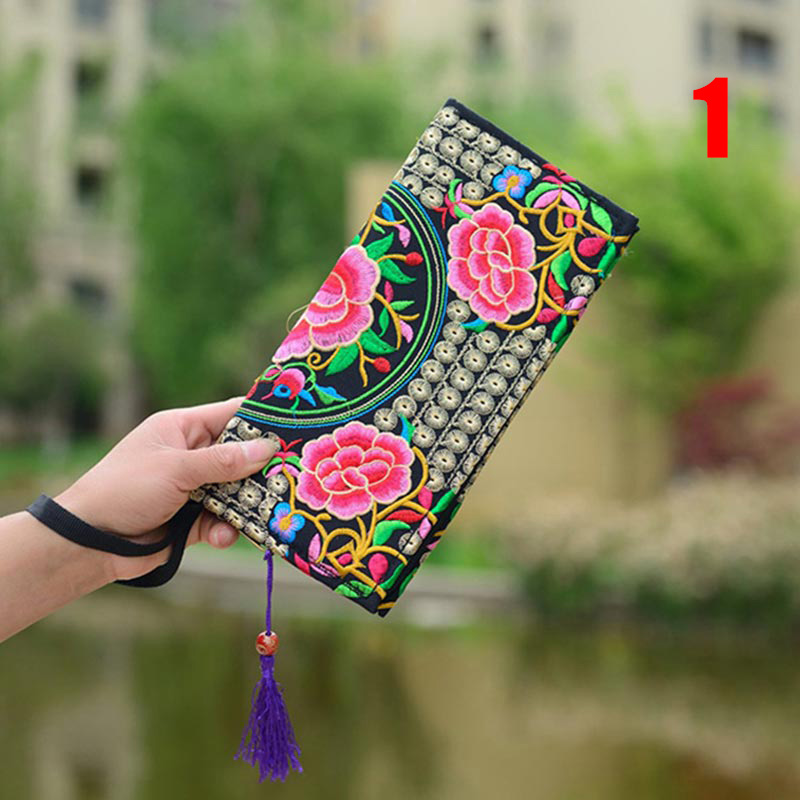 Coin Purse Canvas-Bag Flower Embroidery Retro Handbag Ethnic Vintage Women National Wallet