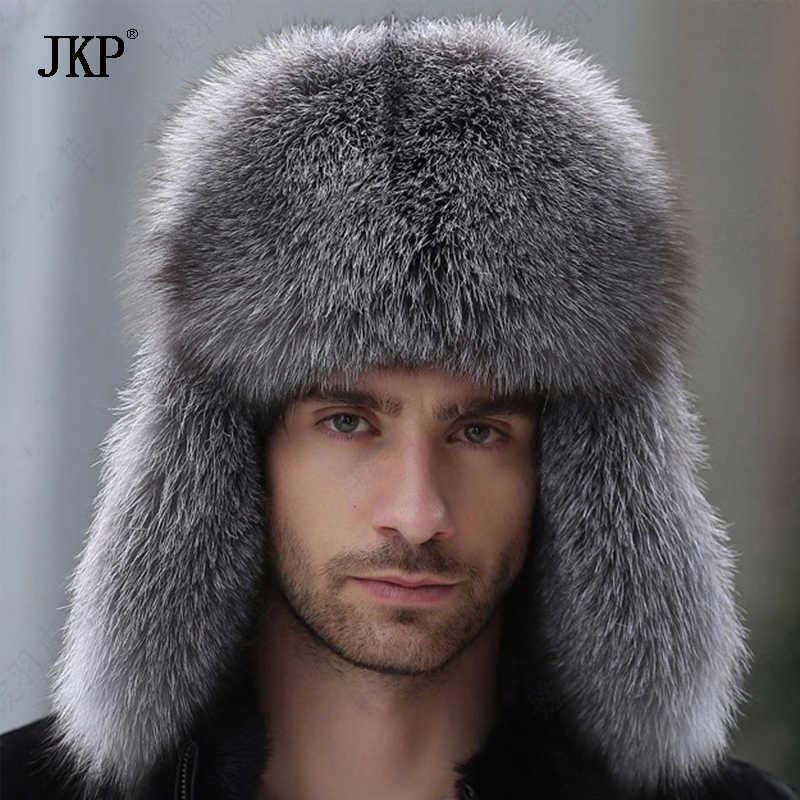 รัสเซียหนังหนังเครื่องบินทิ้งระเบิดหมวกฤดูหนาวหมวกกับ Earmuffs Trapper earflap หมวก Man จริง Raccoon ขนสีดำ Fox hatska