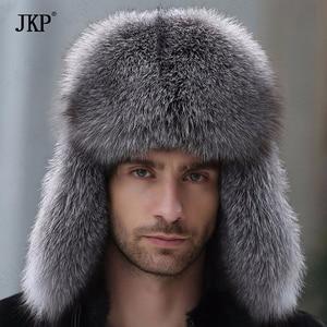 Image 4 - Russian leather bomber leather hat men winter hats with earmuffs trapper earflap cap man real raccoon fur black fox hatska
