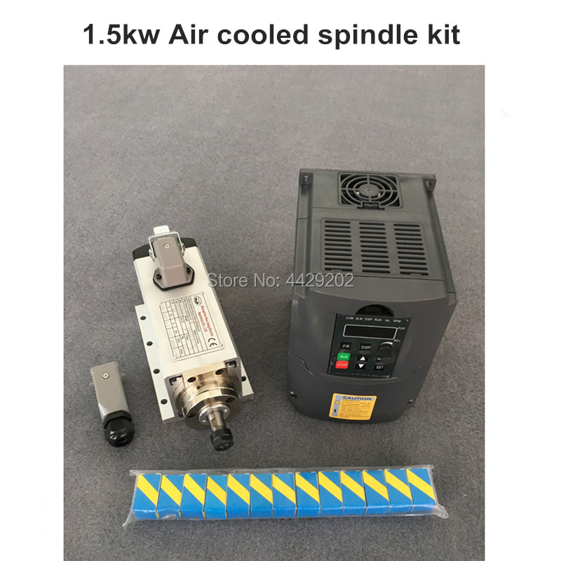 RU Livraison 1.5kw refroidi par air moteur de broche kit cnc moteur de broche + 1.5KW onduleur + 1 set er11 fraisage Carré broche de la machine