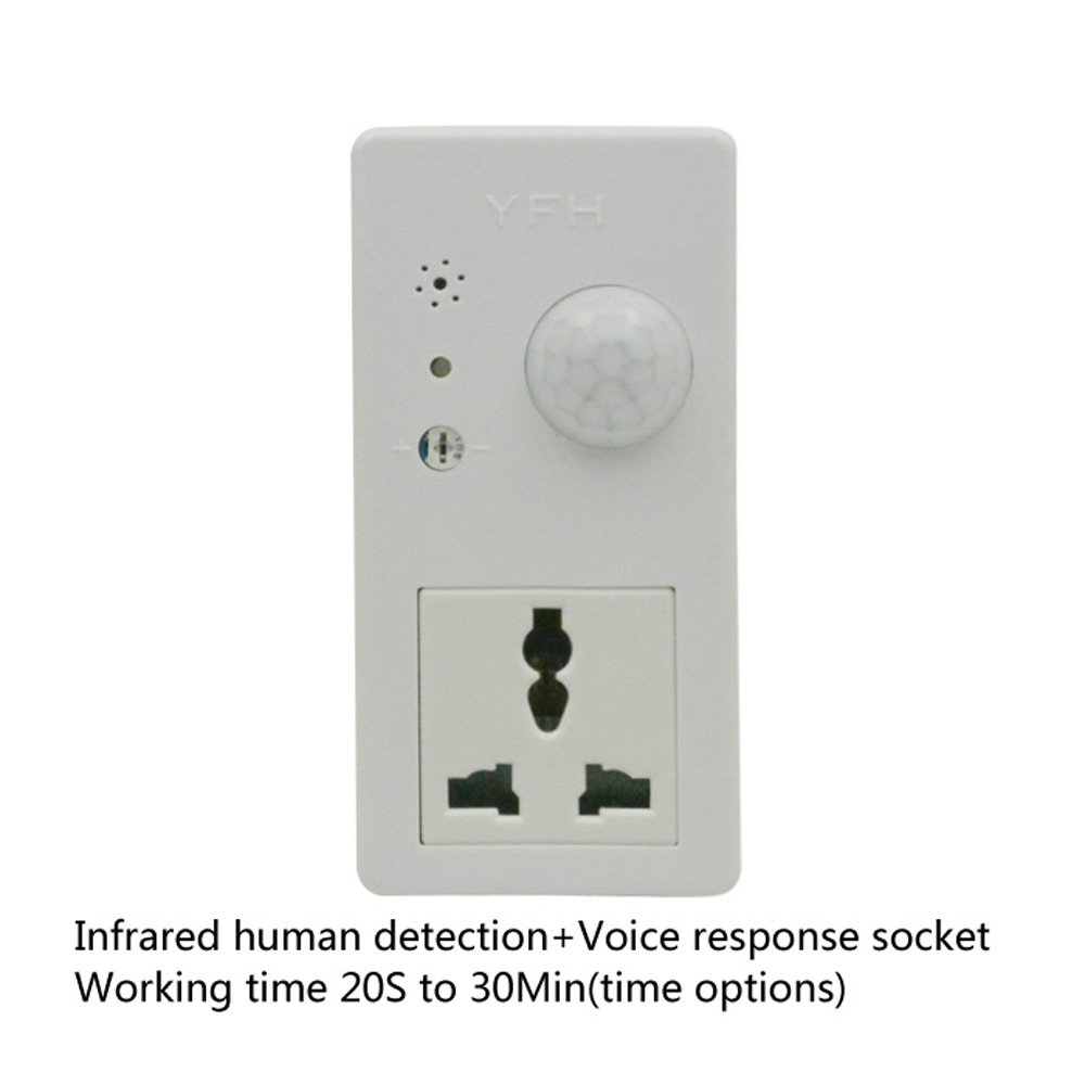 Hot Sales Smart Home PIR Switch Human Induction Switch Power Plug Delay Time Adjustable Motion Voice Dual Control Power Socket