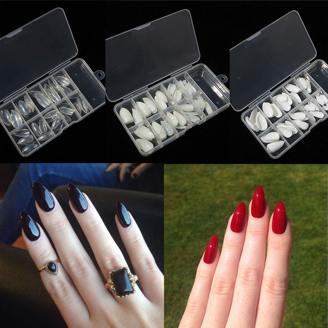 TKGOES 100pcs With Box Acrylic Almond Fake Nails Full Cover Artificial Stiletto Nails False Nail Tips Transparent