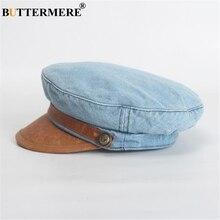 BUTTERMERE Denim Leather Patchwork Newsboy Cap Women Flat Retro Blue Casual Beret 2019 Spring Brand Ladies Baker Boy Hat