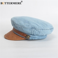 Buttermere Denim Leather Patchwork Newsboy Cap Women Flat Cap Retro Blue Casual Beret 2020 Spring Ladies Baker Boy Hat