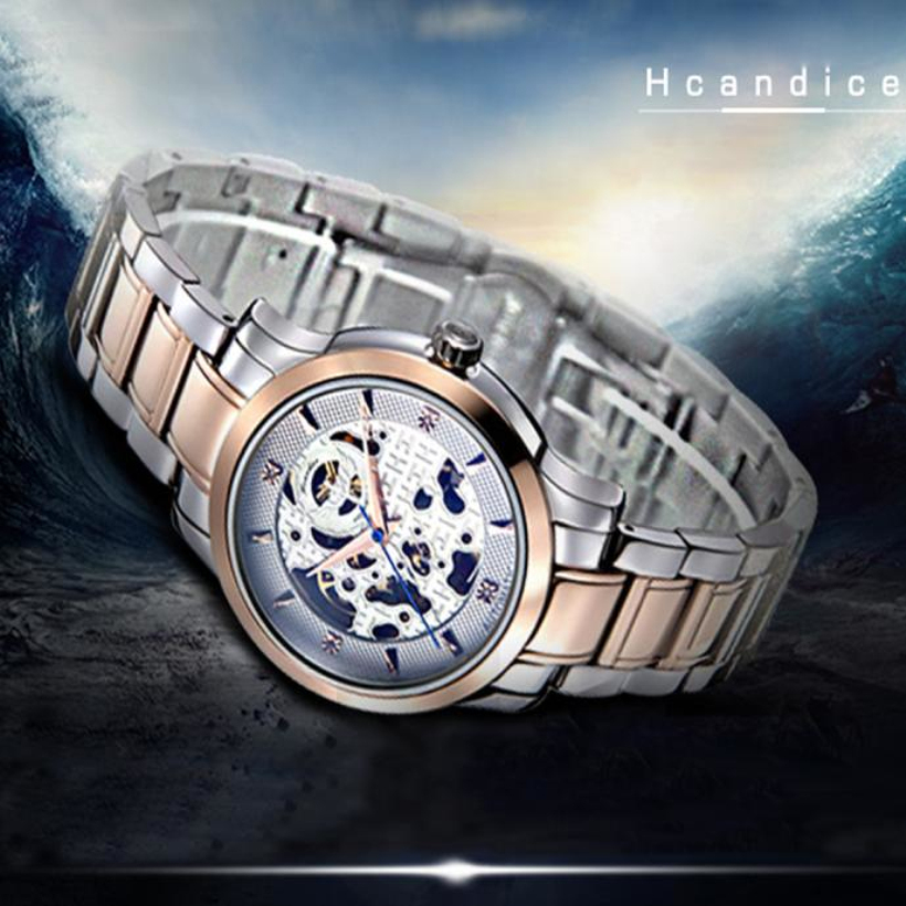 Creative New Style 1PC Men's Hcandice Fashion Skeleton Mechanical Stainless Steel Gold Watch,noble quality and luxury watch ariete пылесос 2788 2 eco power a class 1150 вт