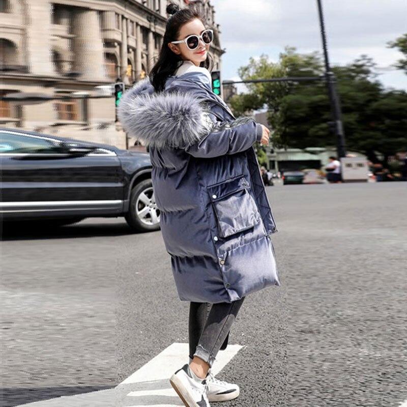 Blue Beige Zipper Parkas white Fourrure Nouveau Outwear À Parka Lumineux Light Coréen Capuche De Long Thicking 2018 Faux Veste Renard Chaud noir Femme Hiver Femmes Manteau 4wfB84