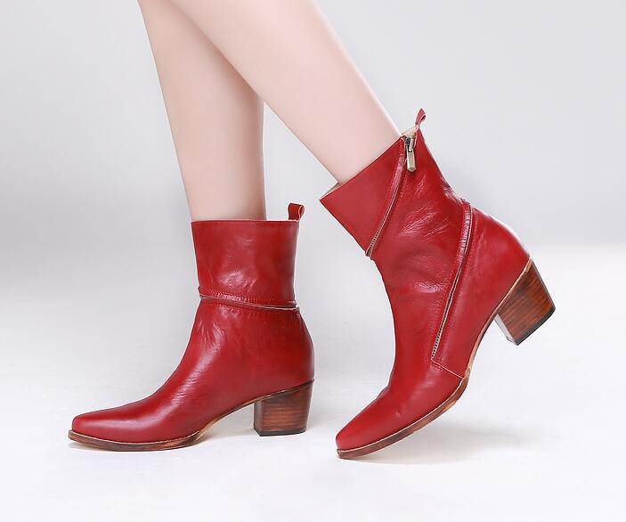 2017 Spring New Arrival Women Fashion Red Color Zip Around Square Low Heels Mid-calf Short Boots Comfortable Charming Boots Lady double buckle cross straps mid calf boots