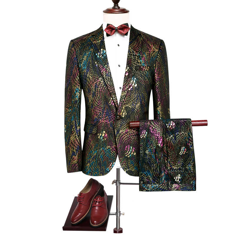 2018新しい男スーツブレザー2ピースセットサイズs m l xl 2xl 3xl 4xlファッションビジネス結婚式宴会男性のスーツジャケット+パンツ