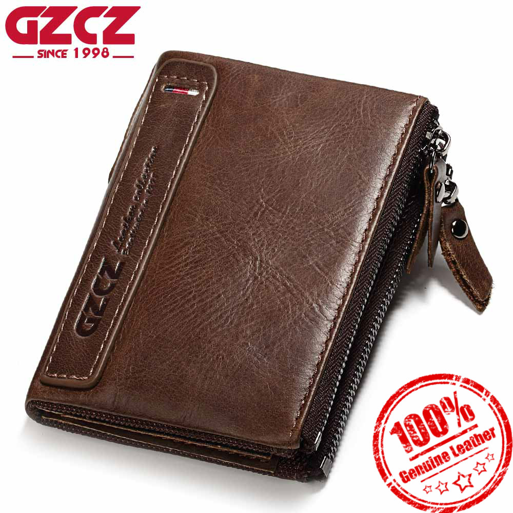 GZCZ Luxury Brand Genuine Leather Men Wallet Male Wallets Zipper Design 2018 Coin Purse Clutch Clamp For Money Bag Card Holder ...