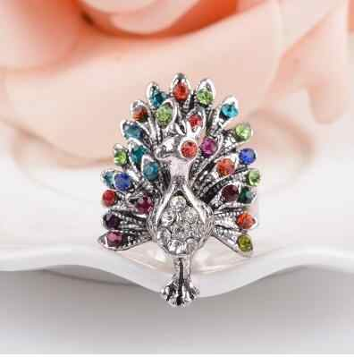 Hot Sale Color imitation crystal peacock butterfly ring tide three-dimensional hollow retro index finger jewelry